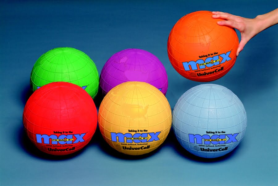 Max UniverCells Rubber Butyl Bladder Playground Ball Set, 8-1/2 in, Assorted Color, Set of 6