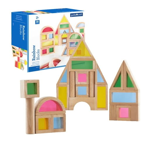 Guidecraft Rainbow Block Set, Set of 30