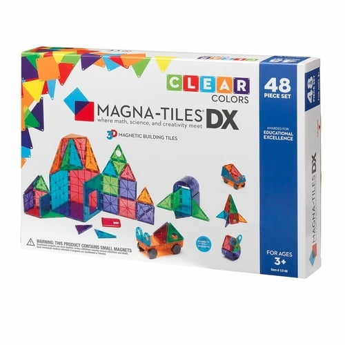 Magna-Tiles Clear Colors 48-Piece Deluxe Set Box
