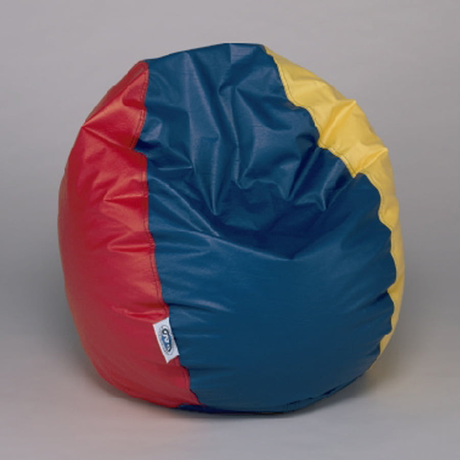 Tri Color Bean Bag Chair 32 Inch Diameter Red Yellow